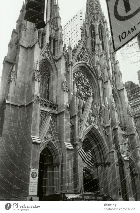 Architecture Religion and faith USA Historic New York City Section of image Partially visible Cathedral Portal Neogothic Historic Buildings