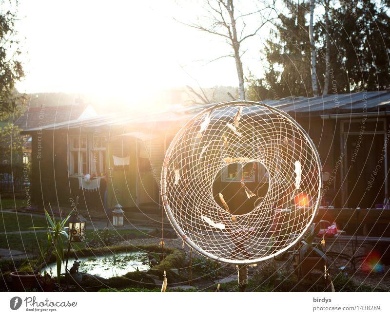 positive vibration Lifestyle Living or residing Dream house Garden Decoration Sunrise Sunset Sunlight Hut Net Circle Glittering Illuminate Esthetic Exceptional