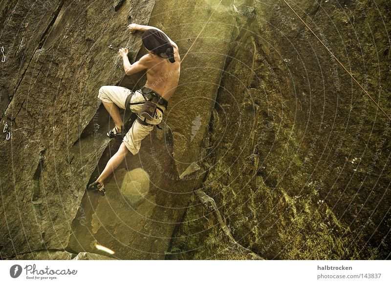 Man Sun Sports Stone Rock Climbing Fitness Athletic Mountaineering Free-climbing Extreme sports