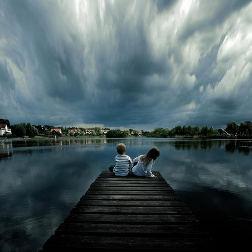 A beautiful day Landscape Land Feature Central Perspective Clouds Thunder and lightning Weather Meteorology Rain Deep Child Infancy Boy (child) Coast Lakeside
