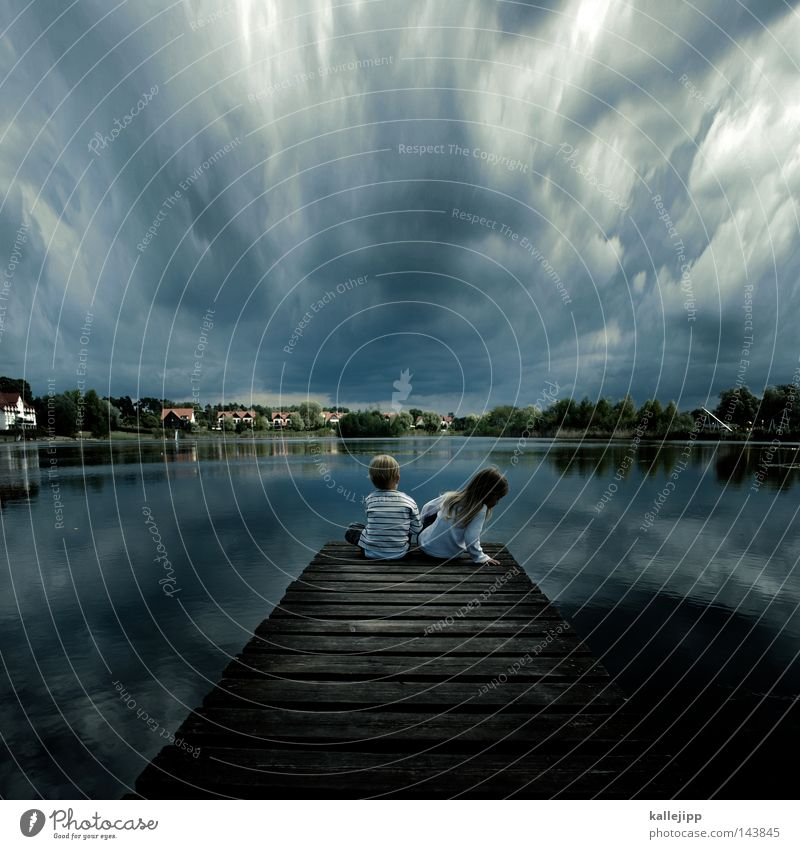 Human being Child Nature Water Girl Ocean Vacation & Travel Calm House (Residential Structure) Clouds Life Relaxation Tuscany Boy (child) Emotions Freedom