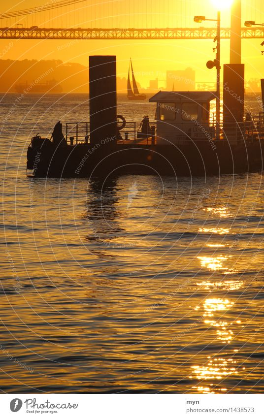 Tagus Lisbon Portugal Town Bridge Means of transport Navigation Boating trip Passenger ship Ferry Fishing boat Harbour Calm Vacation & Travel Warmth Sailboat