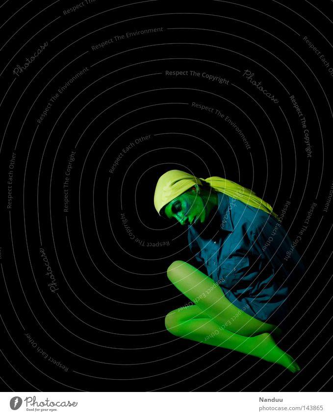 Human being Blue Green Black Calm Yellow Death Dark Emotions Sadness Dream Art Dance Sit Grief Posture