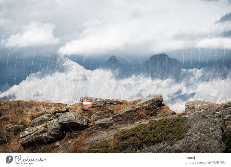 Cold-Warm Vacation & Travel Tourism Trip Far-off places Freedom Mountain Hiking Nature Storm clouds Autumn Bad weather Alps Dachstein gate Mitterspitz Peak