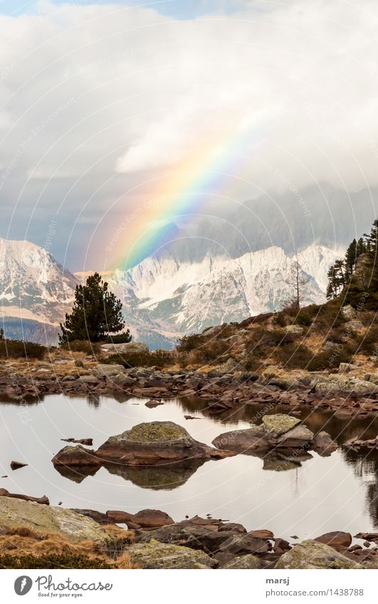 a merry christmas Nature Landscape Clouds Autumn Bad weather Alps Mountain Dachstein Rainbow Sign Illuminate Memory Symbols and metaphors Events Anticipation