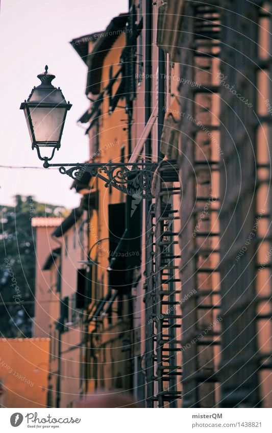 Rays of hope I Art Work of art Esthetic Facade Lamp Lantern Mediterranean Street lighting Lampion Lamp post Italy Lucca Small Town Lure of the big city Southern