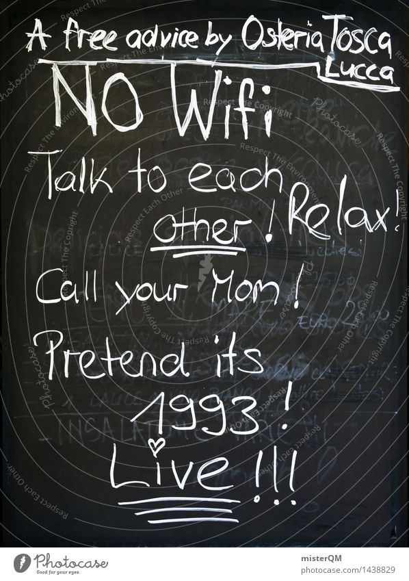NO WIFI. Art Work of art Esthetic Blackboard Chalk Chalk drawing Internet Boy (child) Youth (Young adults) Youth culture Telecommunications Communicate