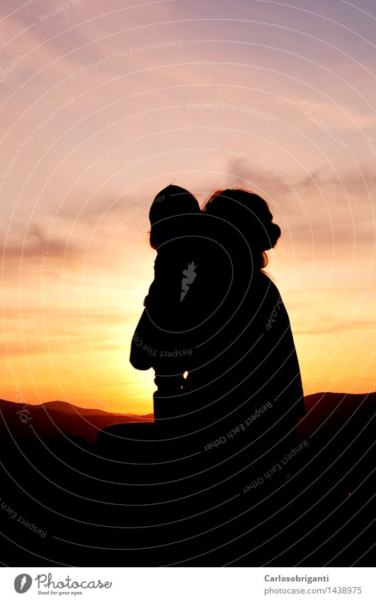 # 1438975 Family & Relations 2 Human being Sunrise Sunset Lightning Mountain Emotions Beauty Photography Colour photo Exterior shot Twilight Silhouette