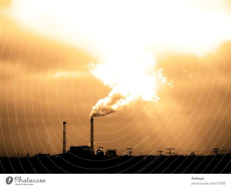 Clouds Environment Industry Smoke Chimney Electricity generating station Electricity