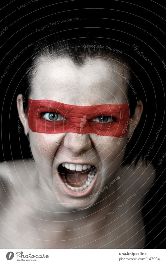 Scream Martial arts To talk Young woman Youth (Young adults) Woman Adults Mask String Fight Anger Red Aggravation Colour Dye Paints and varnish Require