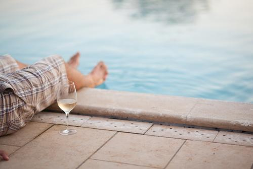 Relax by the pool Alcoholic drinks Wine Glass Harmonious Well-being Contentment Senses Relaxation Calm Vacation & Travel Tourism Freedom Summer vacation Flirt