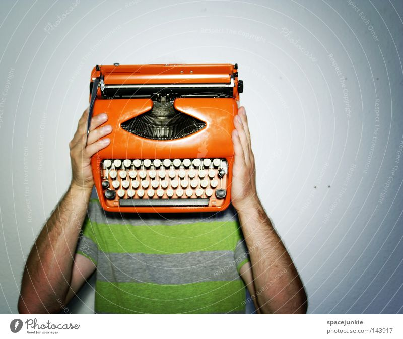 Man Joy To talk Characters Study Letters (alphabet) Write Hide Typography Humor Machinery Hiding place Human being Invisible Typewriter Clerk