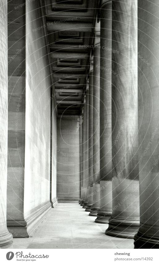 columns Tunnel Historic Architecture Column Stone Black & white photo Deep USA