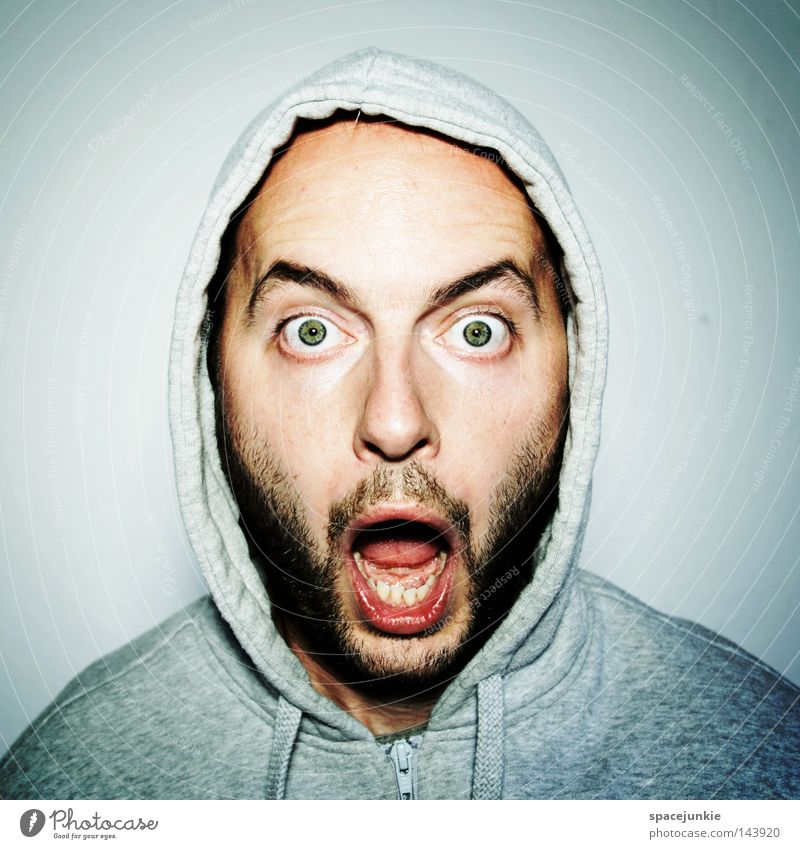 Uhhhh? Man Portrait photograph Shock Information Media Disaster Joy news