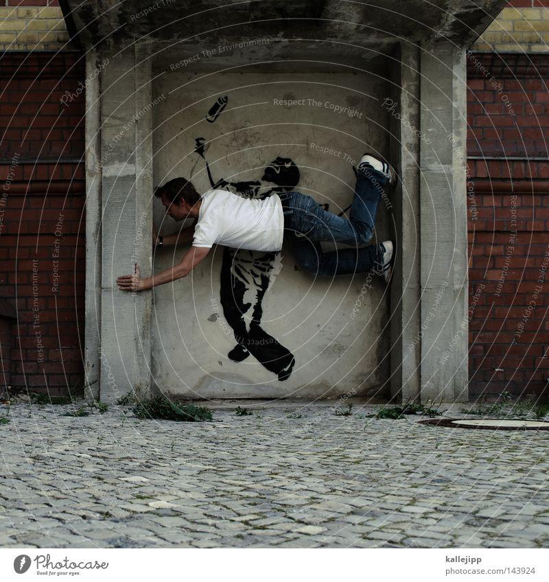 kalle meets banksy Man Human being Mountaineering Climbing Free-climbing Street art Graffiti Inscription Art Artist Style Living thing Acrobat Acrobatics Tagger