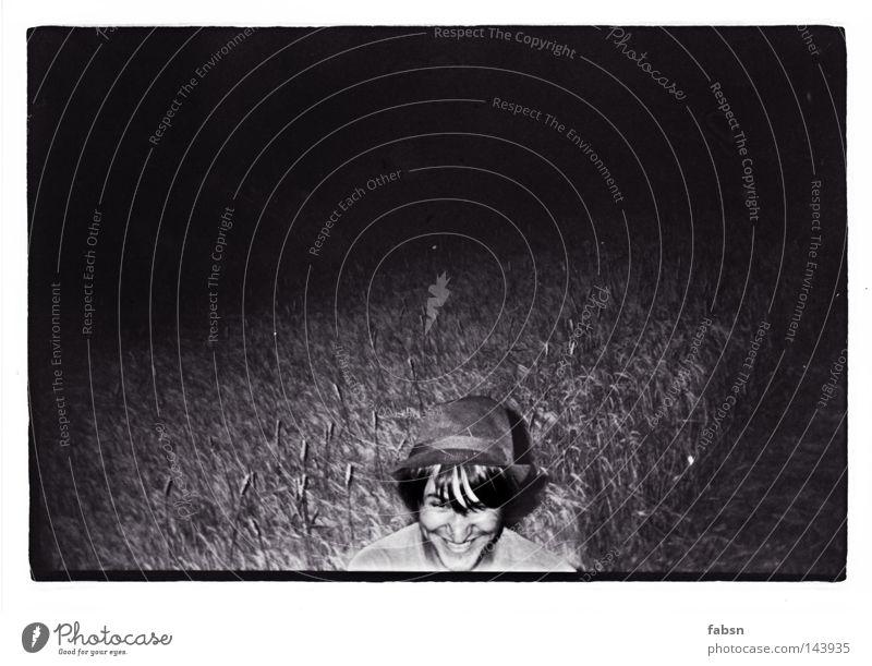 Man Black Adults Dark Field Grain Hat Harvest Farmer Edge Rye Black & white photo