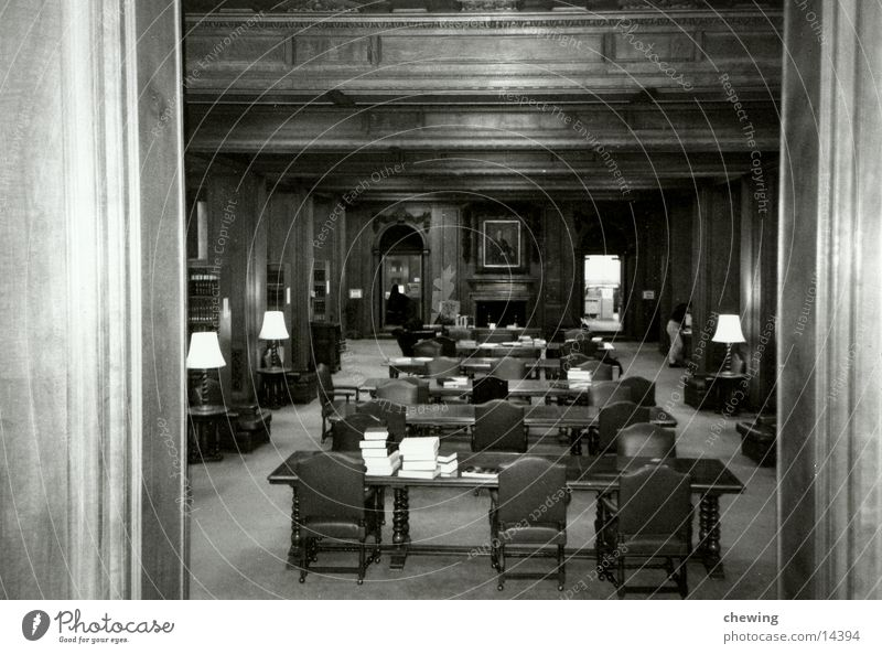 library Library Wood Book Chair Wall panelling Table Architecture Black & white photo Know