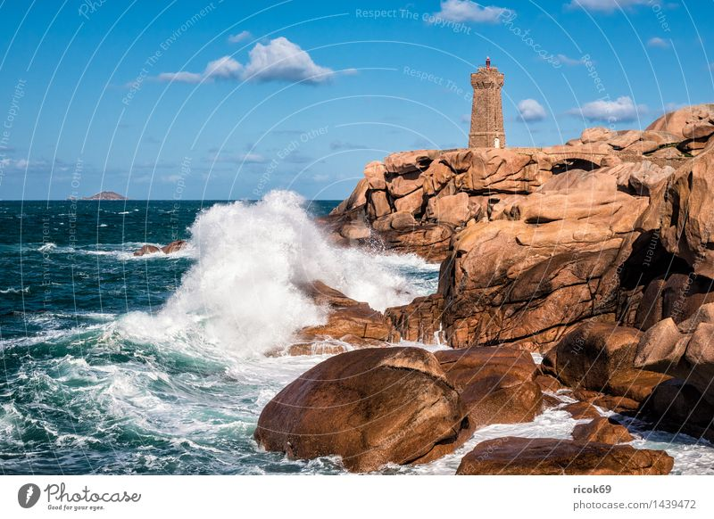 Atlantic coast in Brittany Relaxation Vacation & Travel Waves Nature Landscape Clouds Rock Coast Ocean Lighthouse Architecture Tourist Attraction Stone Tourism