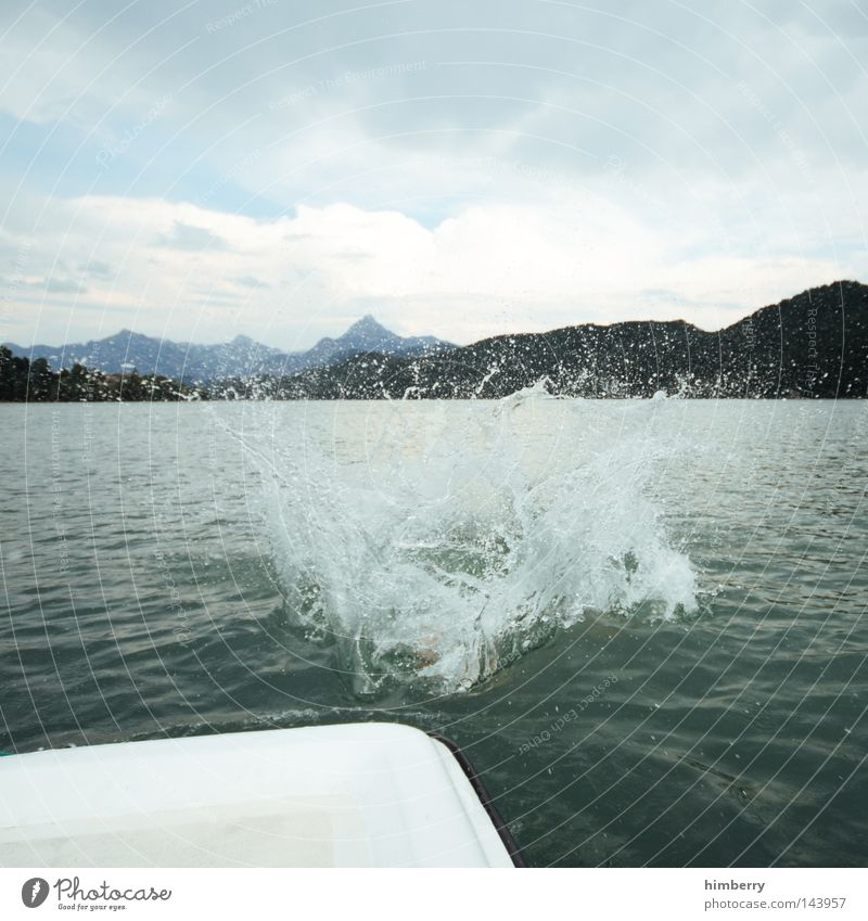 Sky Hand Vacation & Travel Relaxation Playing Mountain Jump Lake Germany Weather Watercraft Leisure and hobbies Swimming & Bathing Large Swimming pool Alps