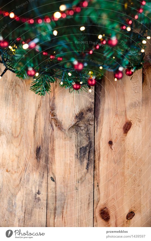 Christmas tree on wooden background Decoration Christmas & Advent Tree Wood Tradition christmas Copy Space December Story holiday Home Pine Vertical