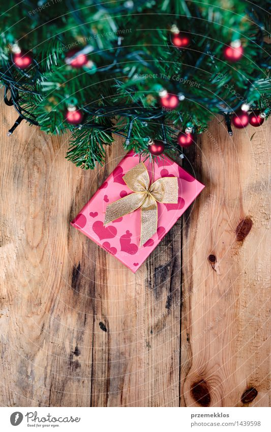 Present under Christmas tree Decoration Christmas & Advent Tree Wood Tradition background Guest christmas Copy Space December Story Gift holiday Home Pine