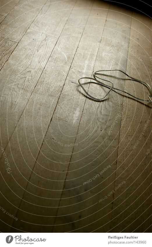 One cable, one floor Cable Shadow Transparent Electrical equipment Parquet floor Wood grain Texture of wood Wooden board Wooden floor Seam Empty Interior shot
