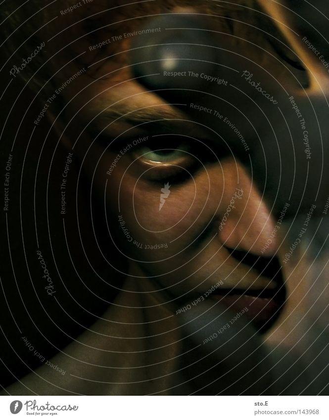 Human being Man Hand Green Face Black Eyes Dark Hair and hairstyles Head Lighting Fear Skin Fingers Arrangement