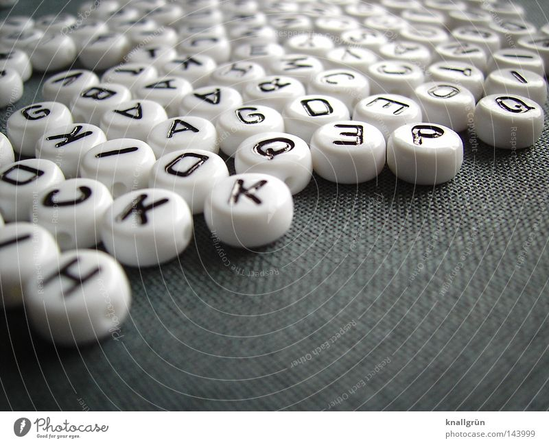 alphabet Latin alphabet Letters (alphabet) Capital letter White Black Gray Round Pearl Word Write Thought Characters Obscure alphabet beads Jump sentences