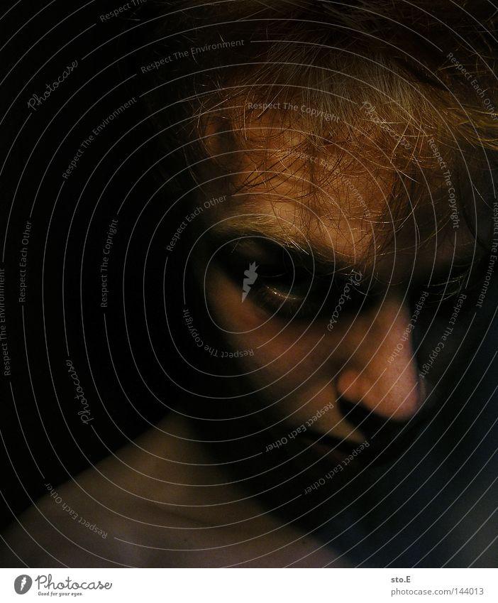 Human being Man Green Face Black Eyes Dark Hair and hairstyles Head Lighting Fear Skin Arrangement Anger Wrinkles