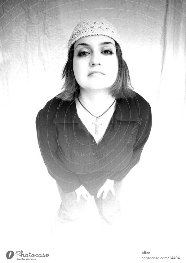 Yvonne 2 Woman Model Portrait photograph Overexposure yvonne Black & white photo Intersection Expressionless transitions
