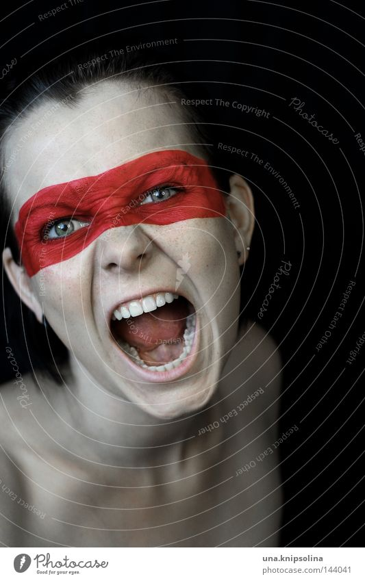 cry Martial arts To talk Young woman Youth (Young adults) Woman Adults Mask String Fight Scream Anger Red Aggravation Colour Dye Paints and varnish Require