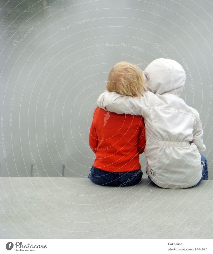 Water Girl Joy Child Cold Hair and hairstyles Friendship Fog Wind Drops of water Wet Sit Jeans Protection Cloth Jacket