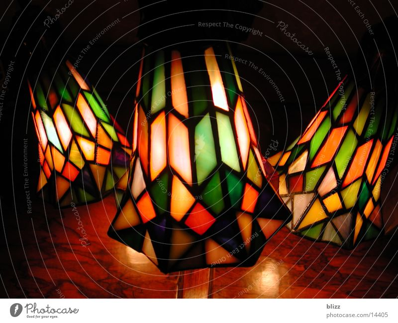 Tiffany lamp Lamp Light Dim Cozy Night Loneliness Safety (feeling of) Living or residing Lighting Glass Macro (Extreme close-up) colored colourful dimly lit