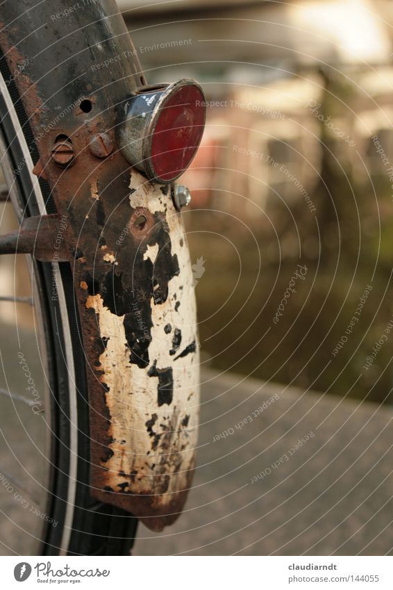 Old Bicycle Transience Wheel Rust Tire Weathered Spokes Guard Reflector Cat eyes Oxydation Ravages of time Rear bicycle light