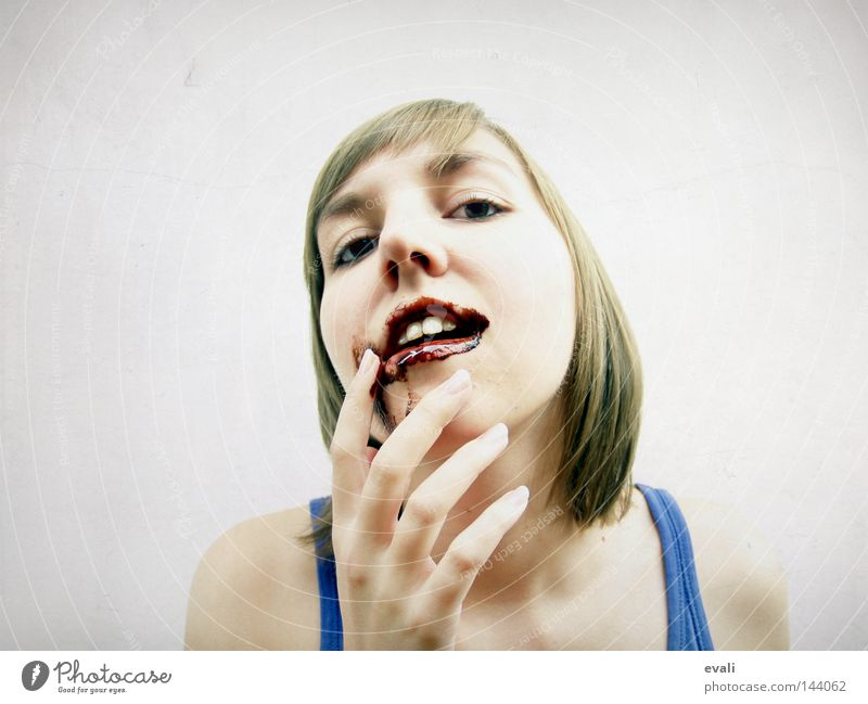 chocolate Portrait photograph Woman Lips Chocolate Fingers Happiness Childish Face Mouth mouth of chocolate sweet tooth happy Eating