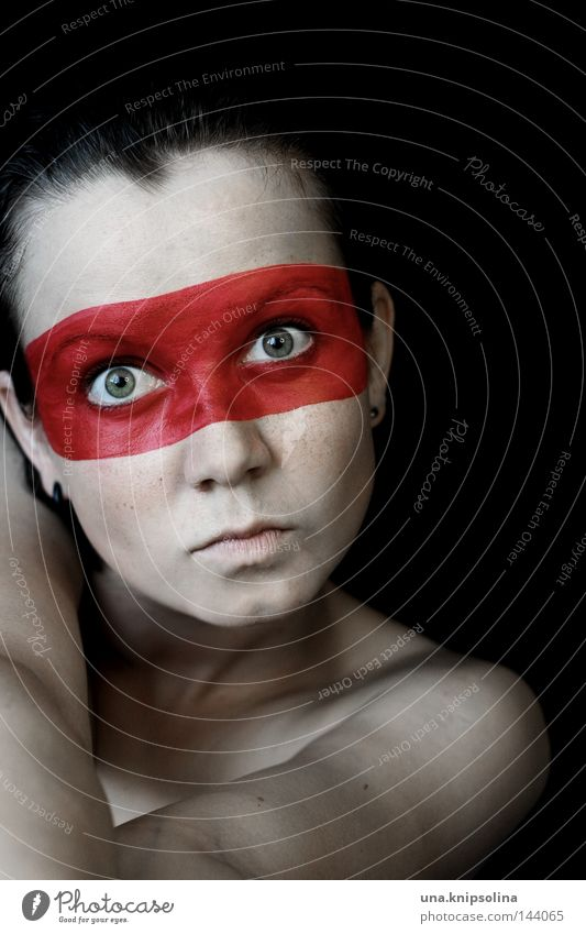 see red Young woman Youth (Young adults) Woman Adults Arm Mask String Anger Aggravation Colour Pervasive Hero Native Americans Require Shoulder Interlock