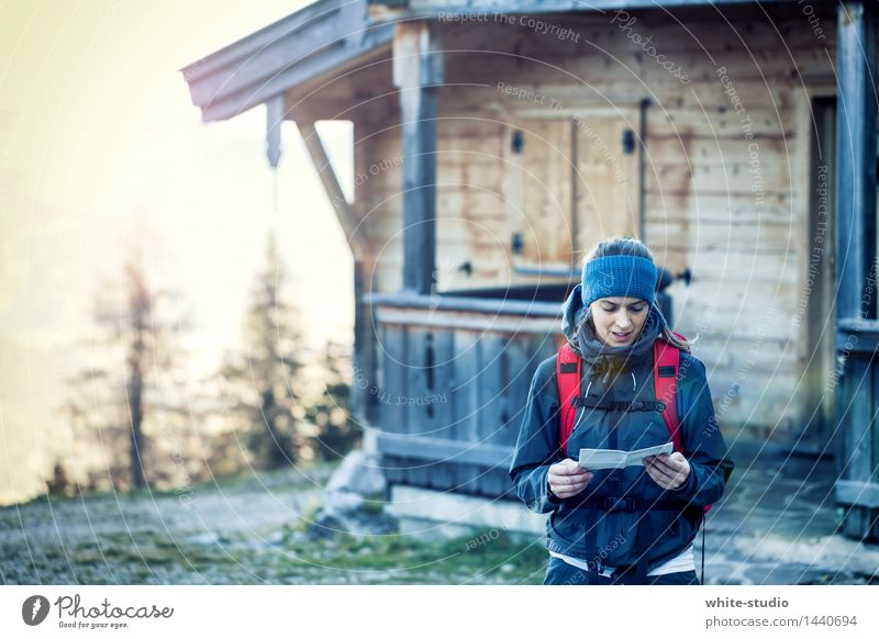route planning Woman Adults Hiking Orientation Map Disorientated Navigation Chalet vacation Alpine hut Forest Mountain Hiking trip Exterior shot Climbing
