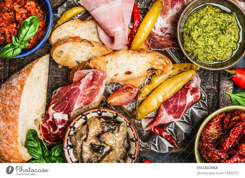Antipasti : ciabatta, pesto and ham Food Meat Sausage Vegetable Herbs and spices Cooking oil Lunch Dinner Buffet Brunch Picnic Italian Food Plate Bowl Life