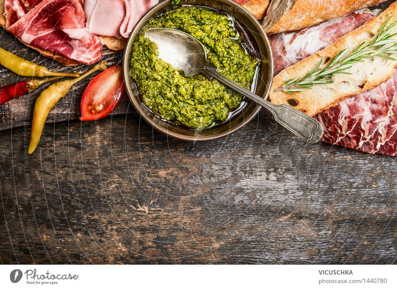 Green pesto and meat platter with bread and antipasti Food Meat Sausage Vegetable Bread Herbs and spices Cooking oil Nutrition Lunch Dinner Banquet Italian Food