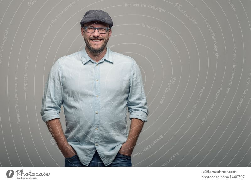 Friendly attractive man in glasses Human being Man Face Adults Happy Copy Space Stand Smiling Friendliness Hat Beard 30 - 45 years Middle-aged