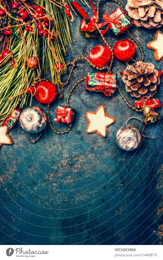 Christmas decoration with biscuits and fir twigs Dough Baked goods Dessert Style Design Winter Event Feasts & Celebrations Christmas & Advent Tradition
