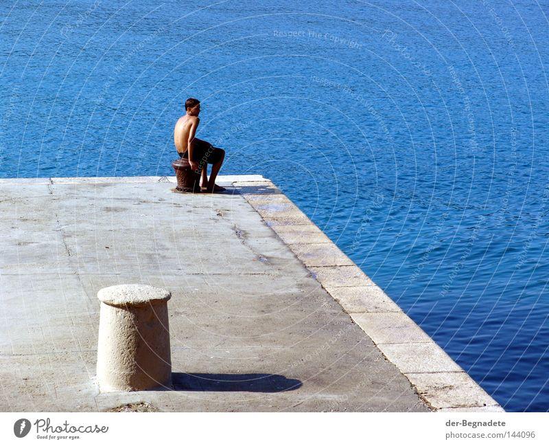 wait Water Footbridge Jetty Blue Young man Wait Boredom Calm Remote Bollard Shadow Sunrise Morning Human being Ocean Mediterranean sea Croatia Vacation & Travel