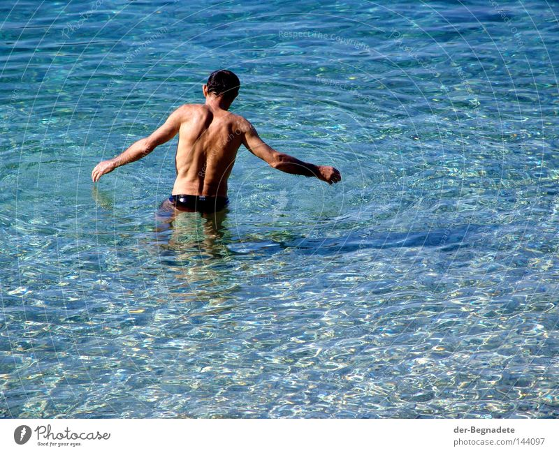morning bath Water Swimming & Bathing Refreshment Hesitate Caution Insecure Foreign Contentment Balance Man Back Arm Waves Clarity Clean Vacation & Travel