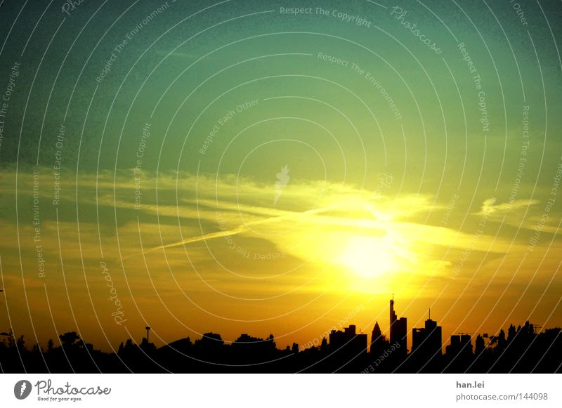 Sky City Sun House (Residential Structure) High-rise Communicate Financial institution Bank building Skyline Silhouette Sunset Dusk Frankfurt Office building Lure of the big city Veil of cloud