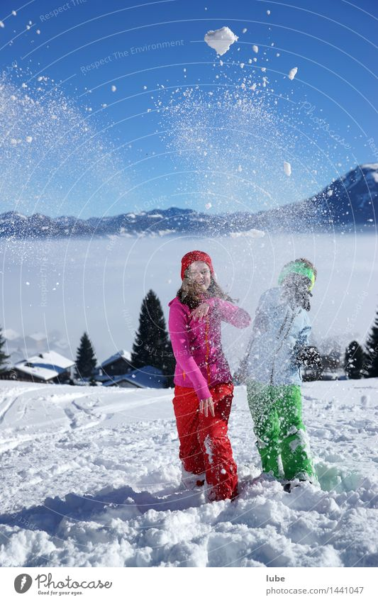 snowball fight Vacation & Travel Tourism Adventure Freedom Winter Snow Winter vacation Mountain Child Girl Boy (child) Brothers and sisters Infancy 2