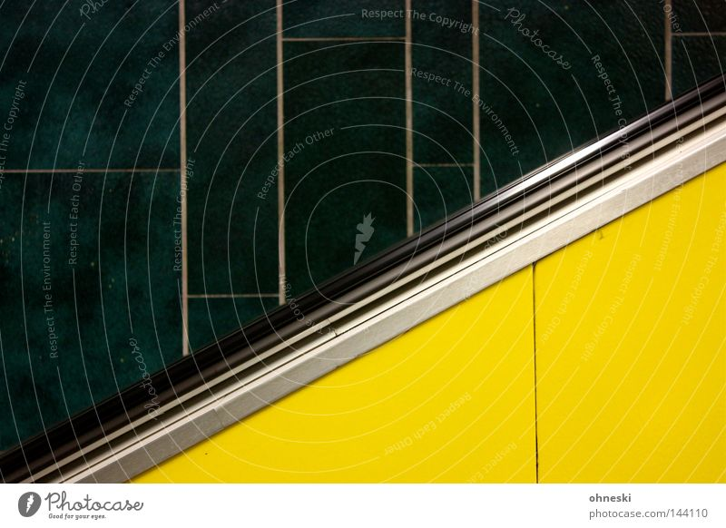 Green Black Loneliness Yellow Colour Above Empty Tile Station Underground Theatre Cologne Train station Upward Stairs Graphic
