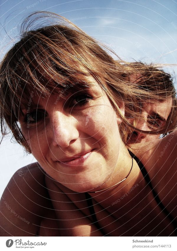 Beach children II Woman Lady Gentleman Youth (Young adults) Man Couple Chain Italy Sky Summer Shadow Face Grinning Laughter Neck Hair and hairstyles Joy