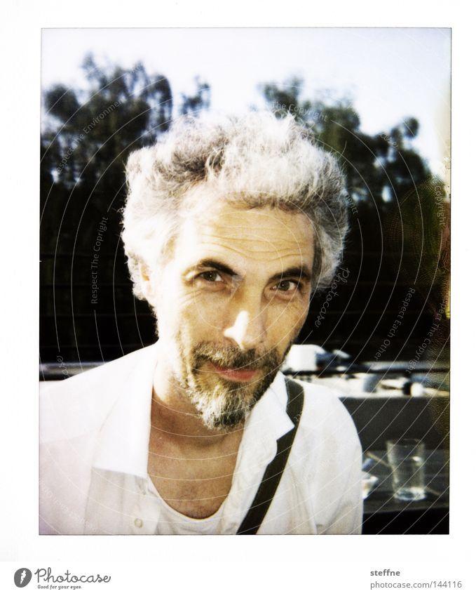 Za Zhamandu Portrait photograph Man Human being Friendliness Shirt Facial hair Polaroid Zettberlin Laughter la chamandu