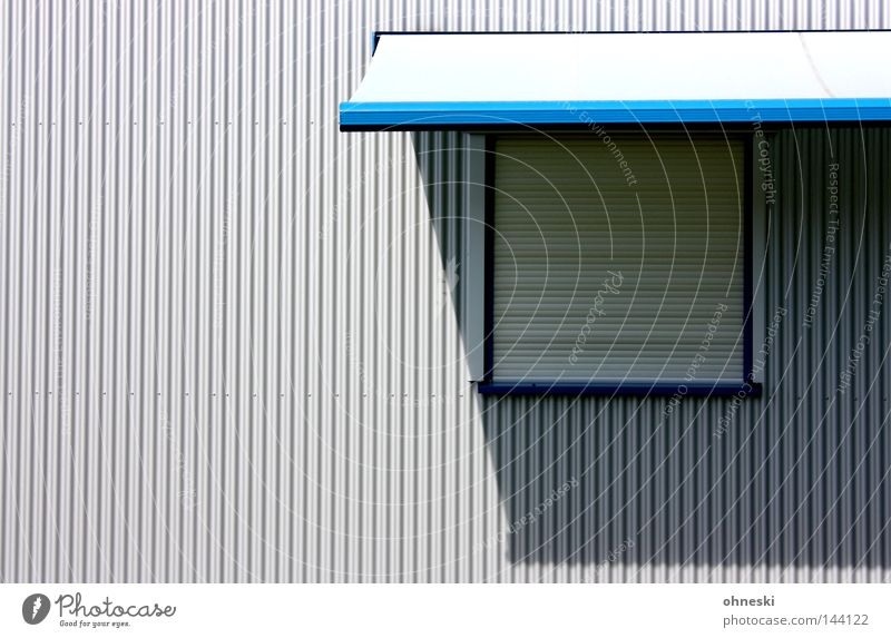 Blue Window Gray Warmth Line Simple Physics Clarity Considerable Direct Venetian blinds Minimalistic Corporate building Sun blind Industrial district