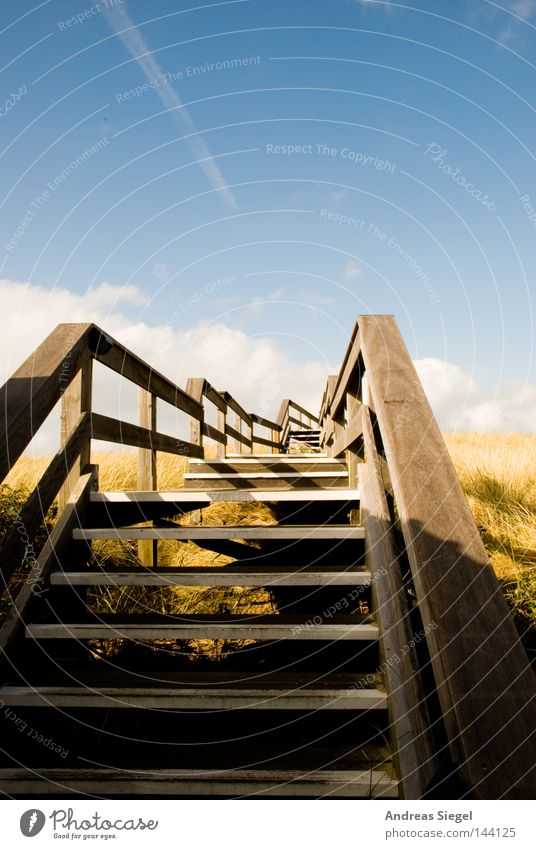 Sky Vacation & Travel Summer Relaxation Calm Clouds Lanes & trails Coast Wood Germany Stairs To go for a walk North Sea Banister Beach dune Bridge railing